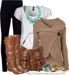 Sweater, boots and bag