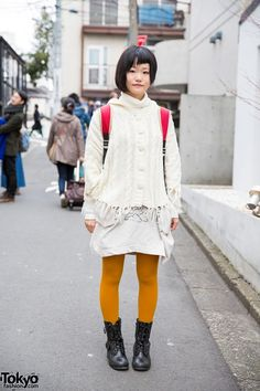 ScoLar Backpack & Top w/ Fringe Sweater & Lace-up Boots in Harajuku