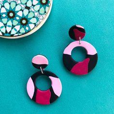 Polymer clay hoop earrings by Salvation Jewellery