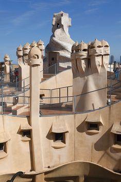 Group of grotesque chimneys on the roof of La Pedrera (Casa Mila), UNESCO World Heritage Site, Passeig de Gracia, Barcelona, Catalunya, Catalonia