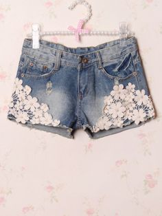 pearl and flower washed denim shorts