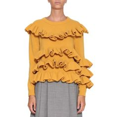 Marco De Vincenzo Ruffled wool sweater (1,355 CAD) ❤ liked on Polyvore featuring tops, sweaters, gold, wool sweater, yellow crew neck sweater, wool crew neck sweaters, ruffle long sleeve top and extra long sleeve sweater