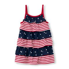 Baby Girls Toddler Sleeveless Stars And Stripes Ruffle Dress - Multi - The Children's Place