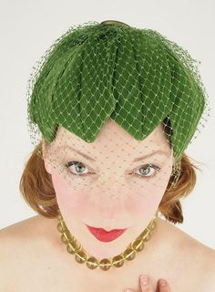 50s green velvet leaves hat with veil by denisebrain, via Flickr