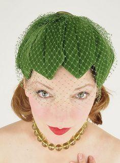 50s green velvet leaves hat with veil by denisebrain, via Flickr