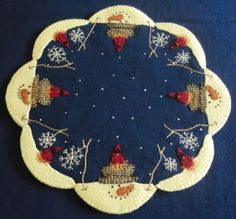"""""""The Melt"""" Candle Mat Pattern-wool, woolfelt, penny rug, candle mat, pattern, snow, winter, holiday, christmas"""