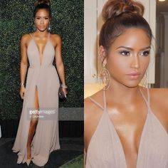 """@cassie last night wearing our gorgeous nude chiffon high slit gown , thank you @stylepr #stylepr Cassie make up by @styledbyhrush"""
