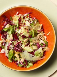 Shaved Brussels Sprouts & Radicchio Salad with Marcona almonds and Manchego cheese