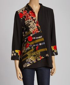 Look at this Black & Red Floral Jacket - Women & Plus by Come N See Visit our site for woman jacket and others! Blouse Batik, Estilo Hippie, Batik Fashion, Techniques Couture, Floral Jacket, Mode Hijab, Jacket Pattern, Sewing Clothes, Casual Tops