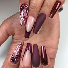 46 Elegant Acrylic Ombre Burgundy Coffin Nails Design For Short And Long Nails - Page 14 of 46 - Burgundy Nail Designs, Burgundy Nails, Ombre Burgundy, Fancy Nails, Cute Nails, Pretty Nails, Nail Art Designs, Nails Design, Coffin Nails