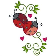 AnnTheGran Free Embroidery Design: Ladybugs 3.90 inches H x 2.70 inches W