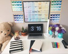 """study-with-m: """" Was super stressed today so I cleaned and rearranged my whole room…my desk will stay clean for all of 2 minutes before it gets piled up with books again . . #organization #planner #deskdecor #diy #desksetup #deskgoals #studyblr..."""