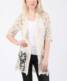 Look what I found on #zulily! Ecru Sheer Floral Crochet Open Cardigan #zulilyfinds $45.