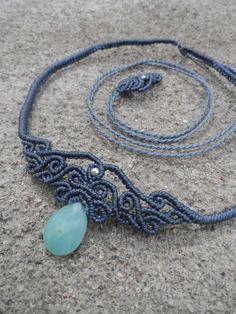 Amazonite - Macrame necklace, choker & tiara, stone size approx. 2.7cm / 1.4cm