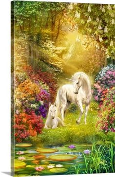 Jan Patrik Krasny Premium Thick-Wrap Canvas Wall Art Print entitled Enchanted Garden Unicorns I, None
