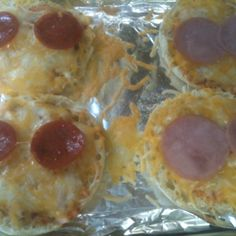 One of my favorite quick meals... Open English muffin, spread on pizza sauce, add cheese, and favorite topping. I bake in toaster oven for a few minutes.