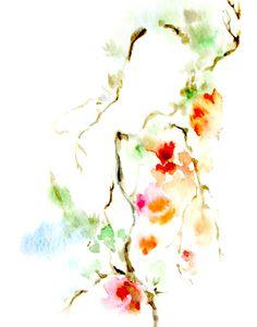 Résumé floral print impression dart floraison branche