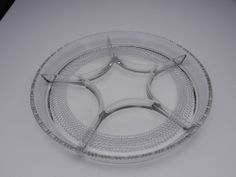 """Duncan Miller Teardrop 6 Part Relish Tray Clear Crystal 12"""" D ca 1935-1955"""