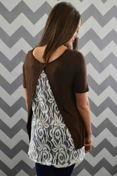 Chocolate Lace Tulip Top – The ZigZag Stripe $32 size s-2xl.  Ships free with discount code ZZS14