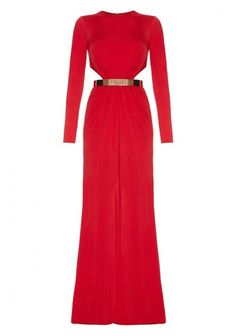 Forever Unique - 'Harrie' Long Sleeved maxi dress Red | Red jersey maxi dress with long sleeves, front split, cut out side detail and gold belt accessory.