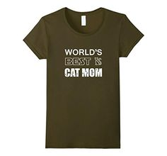Women's World's Best Cat Mom - Pet Lovers Cool Kitten Gift T-Shirt Large Olive - Brought to you by Avarsha.com