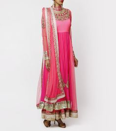 Pink Zardozi Embroidered Raw Silk Anarkali Suit