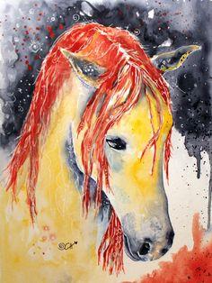 Ein #Pferd wie aus #1001 Nacht: #Kunst #Aquarell von Clarissa Hagenmeyer - www.clarissa-hagenmeyer.de