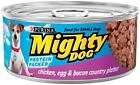 Purina Mighty Dog Wet Dog Food, Thick-Sliced Chicken Dinner In Gravy, Can, Pack of Tender cuts served with mouthwatering gravy. This yummy meal is made with real chicken in hearty, bite-sized pieces. It's sure to be a favorite of your Mighty Dog. Canned Dog Food, Canned Chicken, Chicken Eggs, Smoked Bacon, Bacon Egg, Meals To Make With Chicken, Small Dogs For Sale, Dog Food Online, Wet Dog Food
