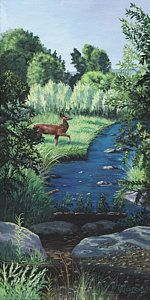 Deer Painting - At Peace by Timithy L Gordon