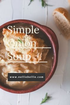 Delightfully simple, onion soup brings a ton of flavor, warmth, and richness to the table. Served up with crusty bread and melted cheese, this recipe elevates the humble onion into an ingredient of the utmost importance. #Onions #Soup #Winter