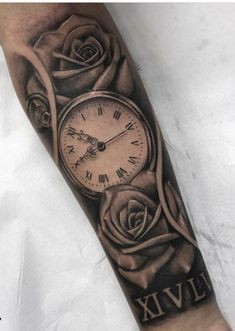 Uhr Rosen Tattoo Manner Unterarm Idee Design Tattoos Engere Wahl