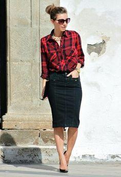 Flannel plaid shirt, black skirt and pearls