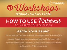 Pinterest is one the fastest growing social networks! Join Social Media Strategist, Shelby Milock, February 5th as she walks you through the best practices for using ‪#‎Pinterest‬ to market your business. Sign up by going to http://stellarbluetechnologies.com/event/how-to-use-pinterest-to-market-your-business/?pk_campaign=PB0205PI30&pk_kwd=