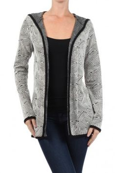 Textured, Geometric printed long sleeve cardigan sweater with open front and hood detail.Keep the cold nights away #fall fashion #salediemlovesfashion #salediem #fashion Shipping is FREE