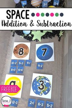 Space Themed Addition and Subtraction – Candace Lozowski - Valentines Space Activities, First Grade Activities, 1st Grade Math, Kindergarten Activities, Activities For Kids, Preschool, Subtraction Kindergarten, Subtraction Games, Kindergarten Addition