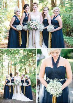Blue and White Wedding Ideas - bridesmaids in navy @weddingchicks