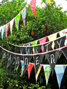 Oilcloth and Chalkcloth Party Banners from Modern June ~ Country Living Fair, Cols, Ohio 2012 Bunting Garland, Pennant Banners, Party Banners, Bunting Banner, Bunting Ideas, Chalkboard Banner, Chalkboard Paint, Party Giveaways, Weekend Crafts