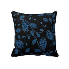 Blue Vine Pattern on Black Pillow