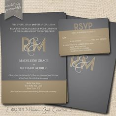 1920s Gold and Gray Printable Wedding Invitation Collection. Customize Text and Design. on Etsy, $30.00