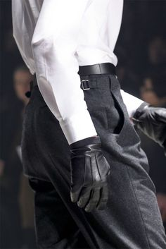 high-waisted wool trousers & leather gloves // Lanvin F/W 12 Lanvin, Black And White Outfit, Tailored Suits, Character Outfits, Leather Gloves, Leather Trousers, Black Gloves, Leather Jackets, Cool Suits