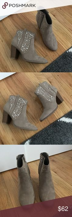 "Myra Taupe Booties with Rhinestones New, will come without box. Jennifer Lopez. Taupe color with rhinestone/gem detail. 3"" heel. Size 7.5.  ❌ No trades or off Poshmark transactions.   👌🏻Quick shipping.   💁🏻Offers welcome through ""Make an Offer"" feature.   👗👠 Bundle discount.   ❔ Feel free to ask any questions. Jennifer Lopez Shoes Ankle Boots & Booties"