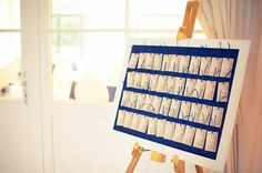 Navy blue & gold wedding decor items - seating chart
