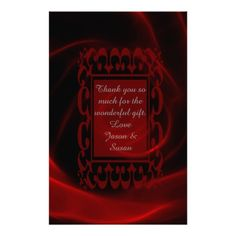 Red Rose wedding Thank you stationery