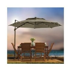 outdoor patio cantilever umbrella 11 foot round canopy with solor powered lights includes base and storage cantilever