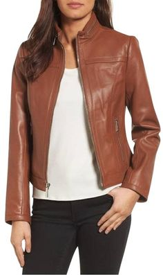 6e914c6833c Cognac Racer Brown Vintage Leather Stand Collar Fitted Jacket