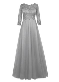 Gray A-line off shoulder lace sleeves applique tulle long floor-length Prom Dresses special high quality,Cheap prom gown BD1705826