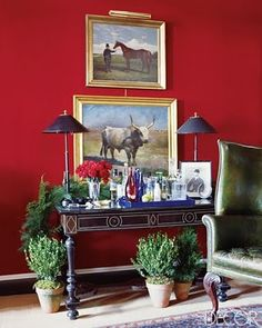 """woodland home decor Miles Redd. Tropical Home Design looks like you'll have a good sleep here """"[Decorator Miles] Redd revved up hallway wall. Jewel Tone Colors, Jewel Tones, Red Rooms, Red Walls, Red Interiors, Red Paint, Paint Colors, Blue Christmas, Shades Of Red"""