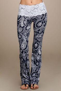 Navy & White Lace Yoga Pants