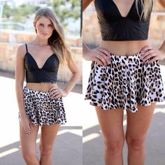 Xenia Boutique - Leopard short and black top