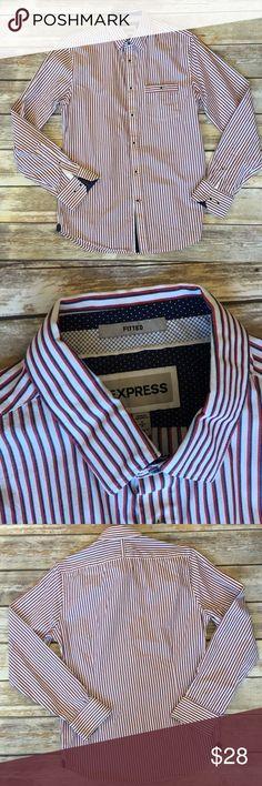 3 for $20🚨Men's Express Button Down Shirt Men's Express Button Down Striped shirt. Slim fit size small Express Shirts Casual Button Down Shirts